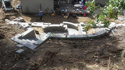 Construction of the tiered retaining wall, from above.